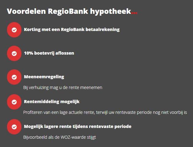 Voordelen RegioBank hypotheek